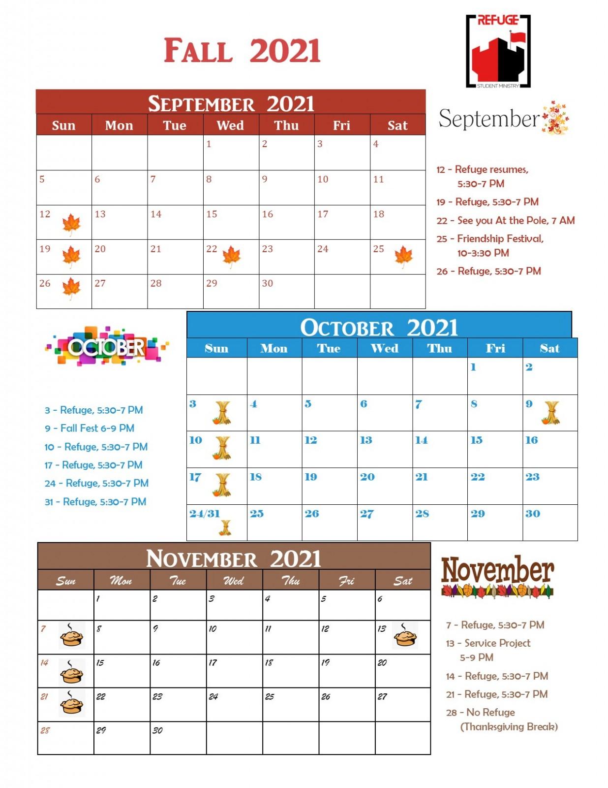 Refuge Fall 2021 calendar
